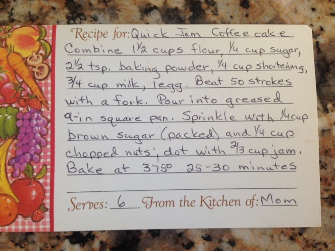 a recipe card showing a hand-written recipe for quick jam coffee cake